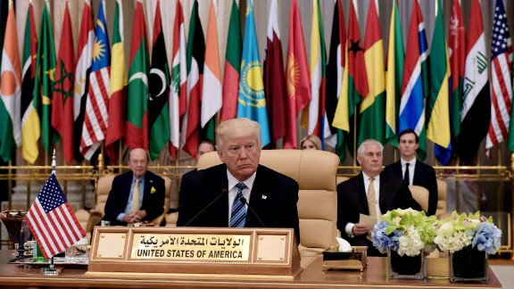 "Trump sits at the summit, which included leaders from 55 Muslim-majority countries. He urged them to do more to eradicate terrorist groups that claim the mantle of Islam. ""We can only overcome this evil if the forces of good are united and strong and if everyone in this room does their fair share and fulfills their part of the burden,"" Trump said. ""Muslim-majority countries must take the lead in stamping out radicalization."""
