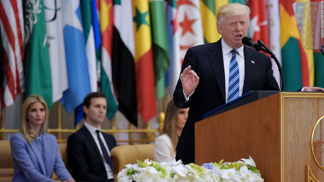 "Trump <a href=""http://www.cnn.com/2017/05/21/politics/trump-muslim-speech-saudi-arabia/index.html"" target=""_blank"">speaks in Riyadh during the Arab Islamic American Summit</a> on Sunday, May 21. Trump looked to make it clear that the United States is not at war with Islam. ""This is not a battle between different faiths, different sects or different civilizations,"" he said. ""This is a battle between barbaric criminals who seek to obliterate human life, and decent people of all religions who seek to protect it. This is a battle between good and evil."""