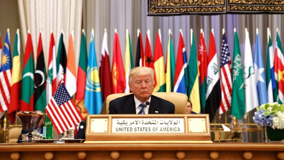 President Donald Trump waits to deliver a speech to the Arab Islamic American Summit, at the King Abdulaziz Conference Center, Sunday, May 21, 2017, in Riyadh, Saudi Arabia. (AP Photo/Evan Vucci)