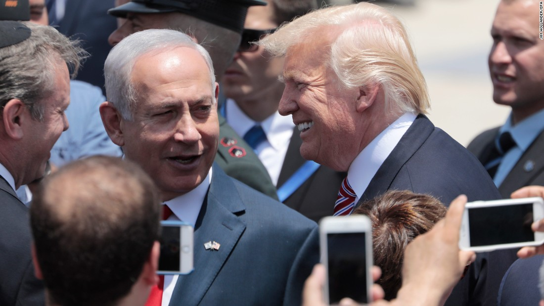Trump is welcomed by Netanyahu upon arriving in Tel Aviv on May 22. Trump started his trip with two days in Saudi Arabia.