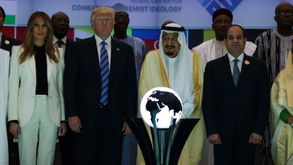 President Donald Trump and Saudi King Salman pose for photos on May 21, 2017, after a ceremony to mark the opening of the Global Center for Combatting Extremist Ideology in Riyadh, Saudi Arabia.