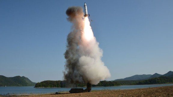 A North Korean Pukguksong-2 missile lifts off from a mobile launcher on Sunday, May 21.