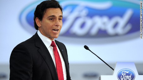 President of Ford Motor Company  US Mark Fields speaks during a visit to the Ford factory in Almusafes, near Valencia on February 5,2015.  AFP PHOTO / JOSE JORDAN        (Photo credit should read JOSE JORDAN/AFP/Getty Images)