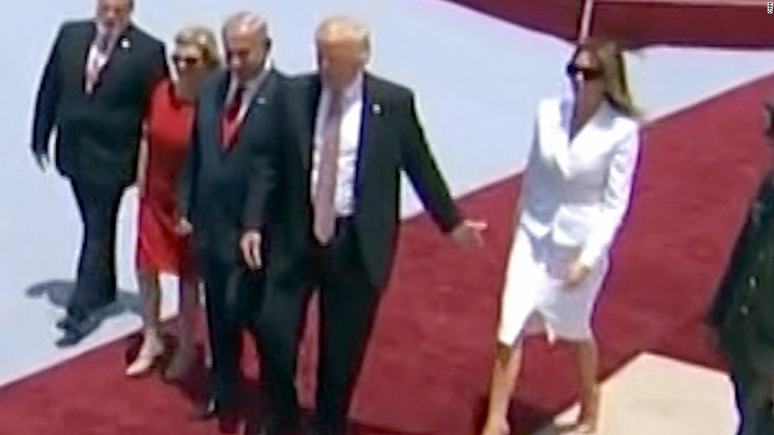 "A video clip <a href=""http://www.cnn.com/2017/05/22/politics/melania-trump-hand-swat-israel/"" target=""_blank"">went viral</a> May 22 after the first lady appeared to swat her husband's hand away after landing in Israel. It's unclear what caused the swat, if anything. The Trumps held hands minutes later on the tarmac. They also held hands multiple times during their tour of the Middle East."