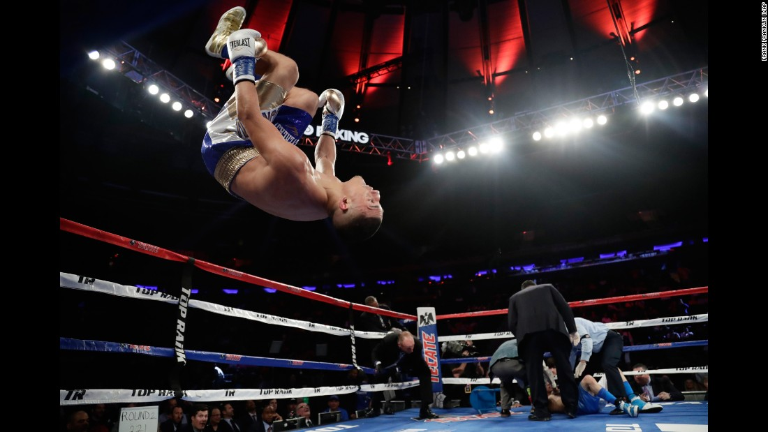 Teofimo Lopez celebrates after knocking out Ronald Rivas in the second round of their lightweight bout in New York on Saturday, May 20.