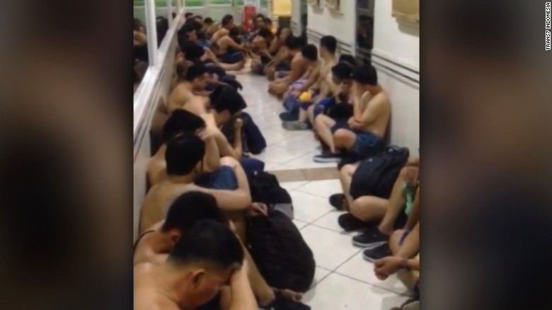 Hundreds of men detained during sex party raid