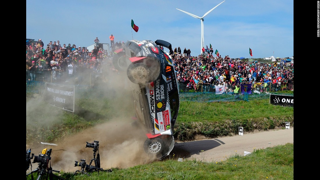 "The rally car of Quentin Gilbert and Renaud Jamoul crashes during a race in northern Portugal on Sunday, May 21. Neither was injured. <a href=""https://www.topgear.com/car-news/motorsport/video-how-not-jump-rally-car"" target=""_blank"">See the wreck</a>"