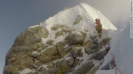 The Hillary Step, which veteran British climber Tim Mosedale says has collapsed.