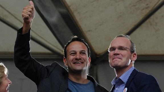 Leo Varadkar (left) and Simon Coveney are seen in 2015 celebrating the victory of a Yes vote after the marriage equality referendum was won.