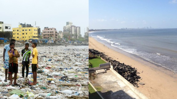 On the left, a photograph of part of Versova beach taken on August 6, 2016. On the right is an image of the beach tweeted on May 20, 2017.