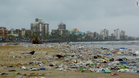 Versova beach on August 6, 2016. The beach held 5.3 million kilograms of trash before it underwent the world's largest beach clean-up.