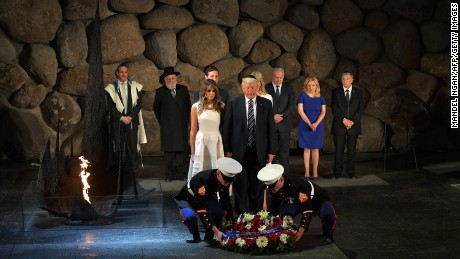 President Donald Trump and First Lady Melania Trump lay a wreath during a visit to the Yad Vashem Holocaust Memorial in Jerusalem on Tuesday, May 23.