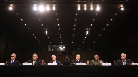 WASHINGTON, DC - MAY 11:  The heads of the U.S. intelligence agencies (L-R) Acting FBI Director Andrew McCabe, Central Intelligence Agency Director Mike Pompeo, Director of National Intelligence Daniel Coats, National Security Agency Director Adm. Michael Rogers, Defense Intelligence Agency Director Lt. Gen. Vincent Stewart and National Geospatial-Intelligence Agency Director Robert Cardillo testifiy before the Senate Intelligence Committee in the Hart Senate Office Building on Capitol Hill May 11, 2017 in Washington, DC. The intelligence officials were questioned by the committee during the annual hearing about world wide threats to United States' security.  (Photo by Chip Somodevilla/Getty Images)