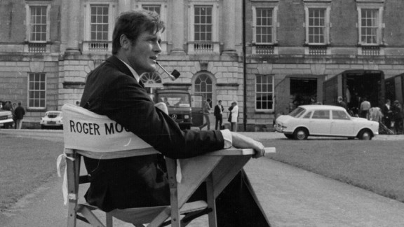 """Moore sits on the set of the film """"Crossplot"""" in 1968."""