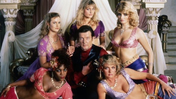 """Moore and some of his co-stars from the 1983 Bond film """"Octopussy."""""""