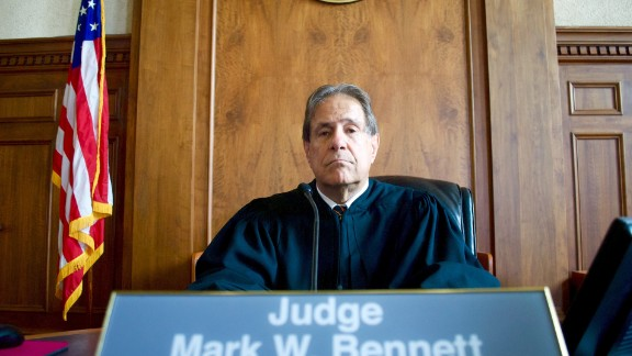 U.S. District Court Judge Mark Bennett on the bench in a federal courtroom in Sioux City, Iowa.