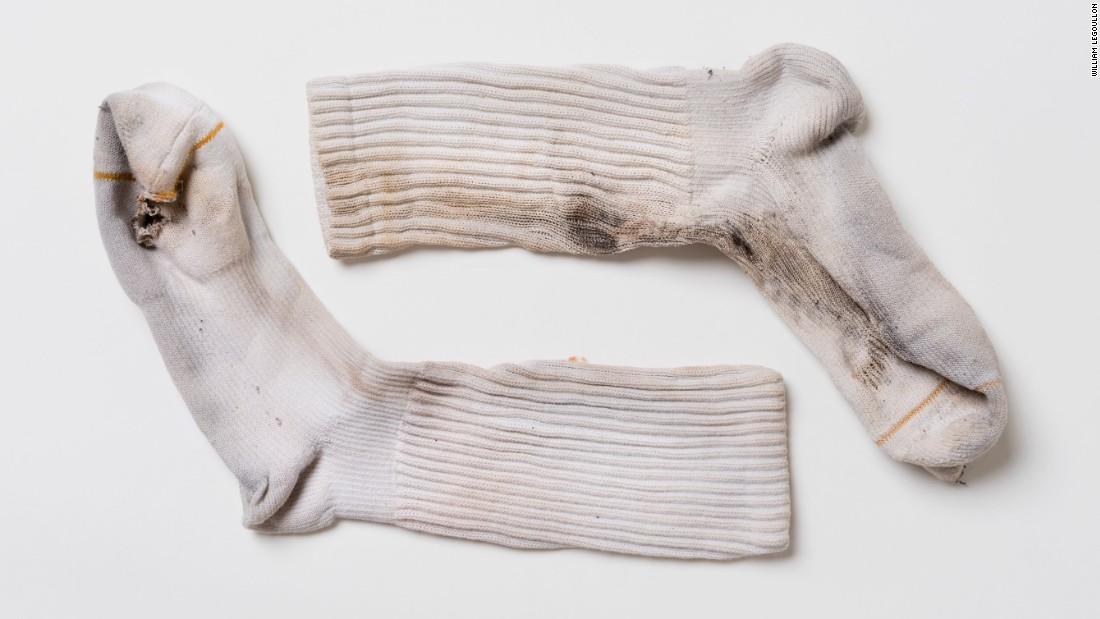 Socks worn by Justin Gauger when he was struck by lightning. The singe marks line up with burn marks on the interior of the boots he wore that day.