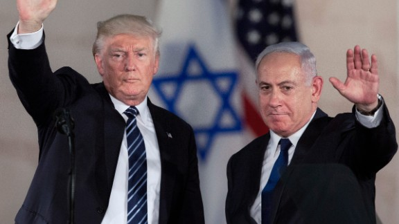 President Trump and Israeli Prime Minister Benjamin Netanyahu wave at the Israel Museum in Jerusalem on Tuesday, May 23. Trump gave a speech there, reaffirming his country