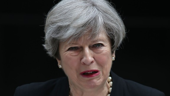 "British Prime Minister Theresa May condemns the ""callous terrorist attack"" as she delivers a statement in London on May 23."