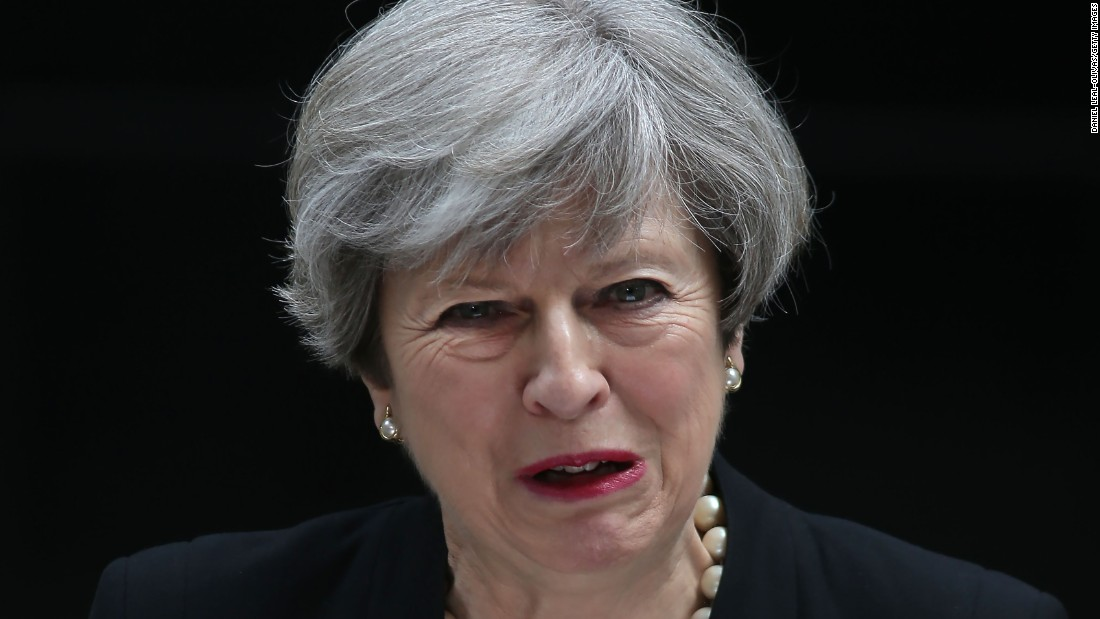 "British Prime Minister Theresa May condemns the ""callous terrorist attack"" as she <a href=""http://www.cnn.com/videos/world/2017/05/23/england-pm-may-condemns-manchester-explosion-sot.cnn"" target=""_blank"">delivers a statement</a> in London on May 23."
