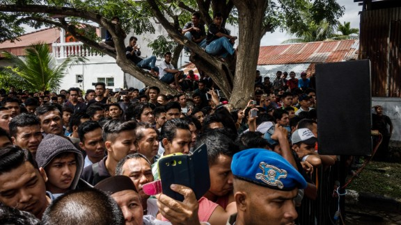 Hundreds of people turned out to see the public caning on May 23 in Banda Aceh.