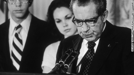 President Richard Nixon reading a farewell speech to his staff following his resignation in August of 1974.