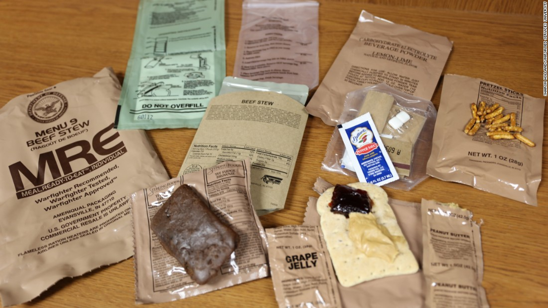 "A typical MRE will contain all the elements of a full meal and can range from beef stew to tuna fish to a veggie offering. <br />""There are three of them a day, providing 3,500 to 3,800 calories,"" Deuster said. ""Every year, the menus change, adding new items and removing others to be healthier, based on research conducted in the field."""
