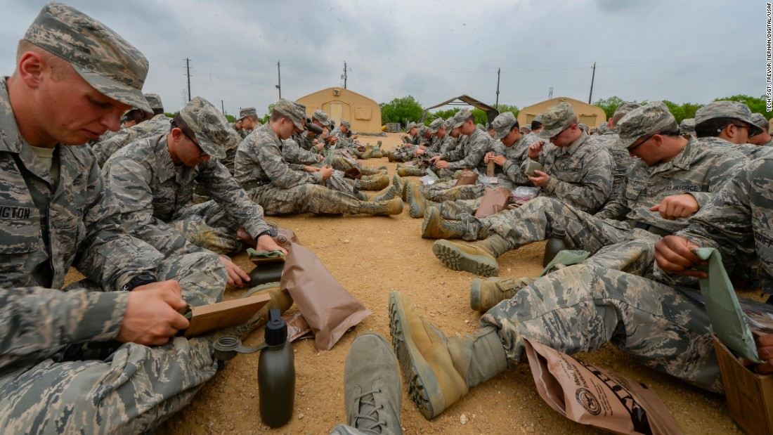 "Heard of MREs, or ""meals ready to eat""? These Air Force recruits are being introduced to their future ""eat on the job"" chow at Joint Base San Antonio-Lackland in Texas."