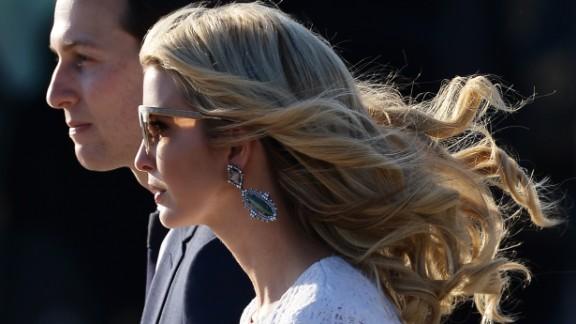 Ivanka Trump, daughter of US President Donald Trump, her husband Jared Kushner, senior adviser to Trump arrive at Rome's Fiumicino Airport on May 23, 2017.
