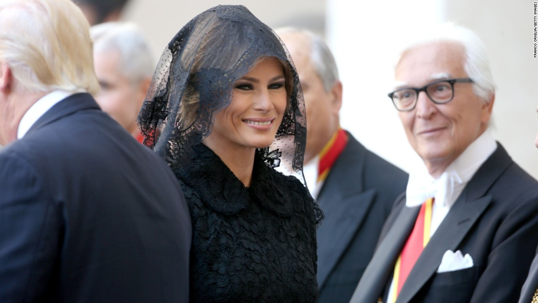 "Melania Trump arrives at the Vatican, where she and her husband met Pope Francis in May 2017. <a href=""http://www.cnn.com/2017/05/24/politics/melania-trump-pope-francis-headscarf-fashion/index.html"" target=""_blank"">With Vatican protocol in mind,</a> she wore a black veil and a long-sleeved black dress draped down to her calf."