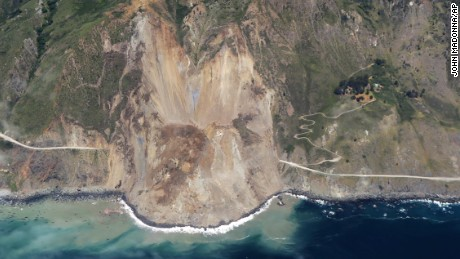 A massive landslide along California's coastal Highway 1 that has buried the road under a 40-foot layer of rock and dirt.