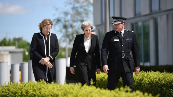 Home Secretary Rudd (left) and Prime Minister Theresa May in Manchester.