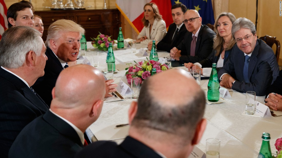 Trump speaks to reporters in Rome during a meeting with Italian Prime Minister Paolo Gentiloni, right, on May 24.