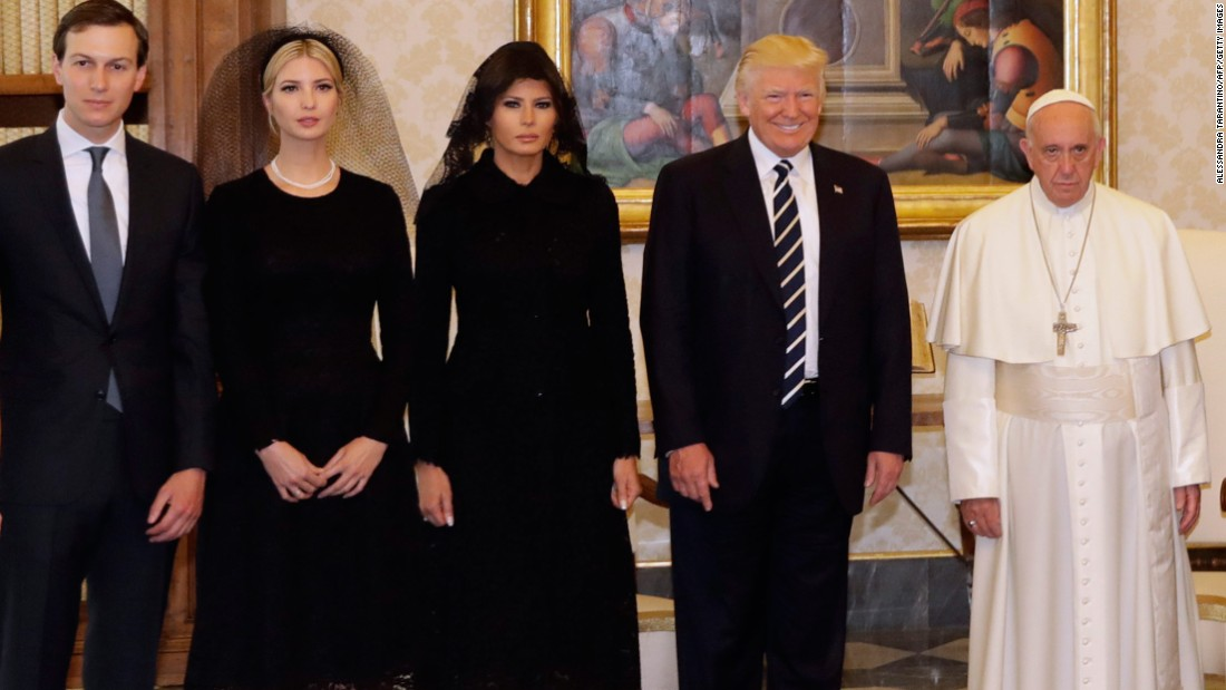 "Pope Francis stands with Trump and his family during <a href=""http://www.cnn.com/2017/05/24/politics/trump-pope-francis-vatican-city/index.html"" target=""_blank"">a private audience at the Vatican</a> on May 24. Joining the President, from left, are Trump's son-in-law, White House senior adviser Jared Kushner; Trump's daughter and adviser Ivanka Trump; and first lady Melania Trump."