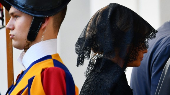 Melania Trump arrives at the Vatican on May 24. With Vatican protocol in mind, she wore a black veil and long-sleeved black dress draped down to her calf. Ivanka Trump wore a similar outfit with a larger veil.