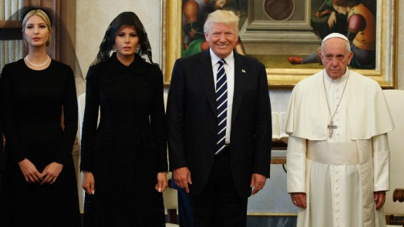 Ivanka Trump, first lady Melania Trump, and President Donald Trump stand with Pope Francis during a meeting May 24