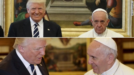 The tale of Donald Trump's visit with Pope Francis, in 2 pictures