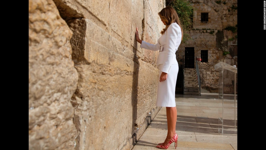 Trump visits the Western Wall, Judaism's holiest prayer site, while in Jerusalem in May.