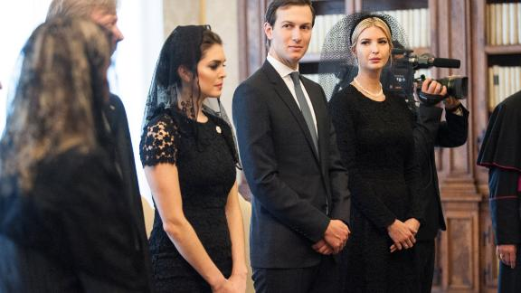 Ivanka Trump and Jared Kushner attend an audience with Pope Francis at the Apostolic Palace on May 24, 2017 in Vatican City, Vatican.