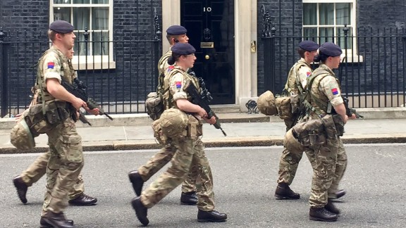 Soldiers on patrol at the Prime Minister
