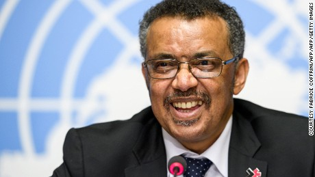 New World Health Organization Director General Tedros Adhanom Ghebreyesus holds a news conference May 24 in Geneva.