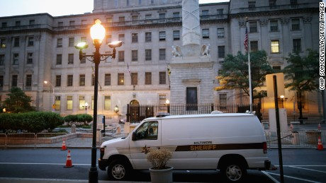 The Baltimore City Circuit Courthouse East, where a defense attorney was arrested for allegedly trying to bribe a rape victim not to testify against his client.