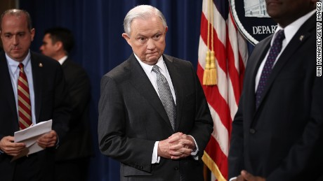 "WASHINGTON, DC - MAY 12:  U.S. Attorney General Jeff Sessions arrives for an event at the Justice Department May 12, 2017 in Washington, DC. Sessions was presented with an award ""honoring his support of law enforcement"" by the Sergeants Benevolent Association of New York City during the event, but did not comment on recent events surrounding the firing of FBI Director James Comey.  (Photo by Win McNamee/Getty Images)"