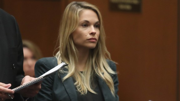 Model Dani Mathers stands during court proceedings in Los Angeles.