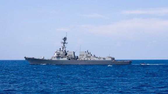 Arleigh Burke-class guided-missile destroyer USS Dewey in the South China Sea on May 5.