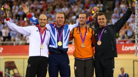Simon van Velthooven (far right) after winning Olympic bronze.