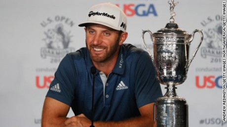 OAKMONT, PA - JUNE 19:  Dustin Johnson of the United States speaks at a press conference after winning the U.S. Open at Oakmont Country Club on June 19, 2016 in Oakmont, Pennsylvania.  (Photo by Andrew Redington/Getty Images)