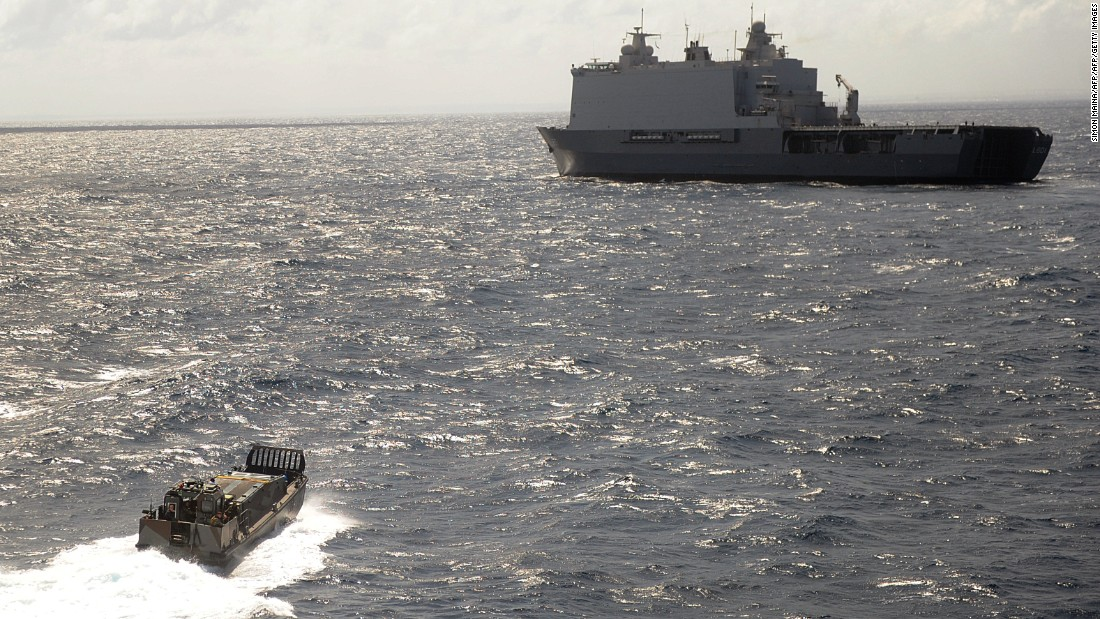 Dutch amphibious assault warship patrols the Somali coast. The ship is part of the EU Naval Force (EU NAVFOR), which protects ships in the HRA.