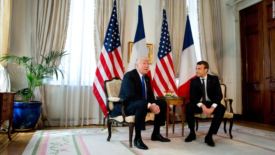 Trump meets with Macron in Brussels.