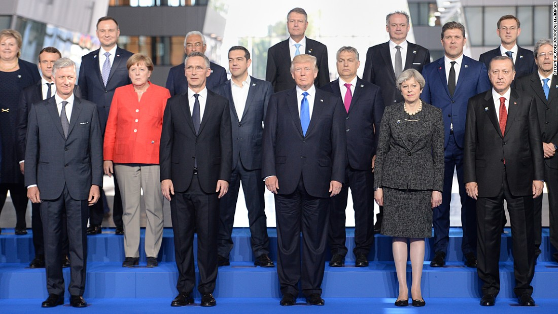 Trump stands with other world leaders during a NATO photo shoot on May 25.